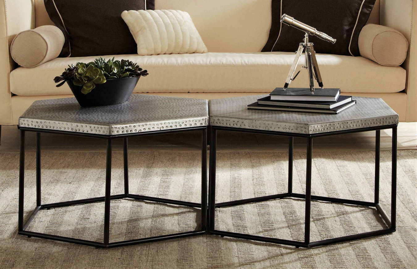 Luxury accent table in a living room decor.