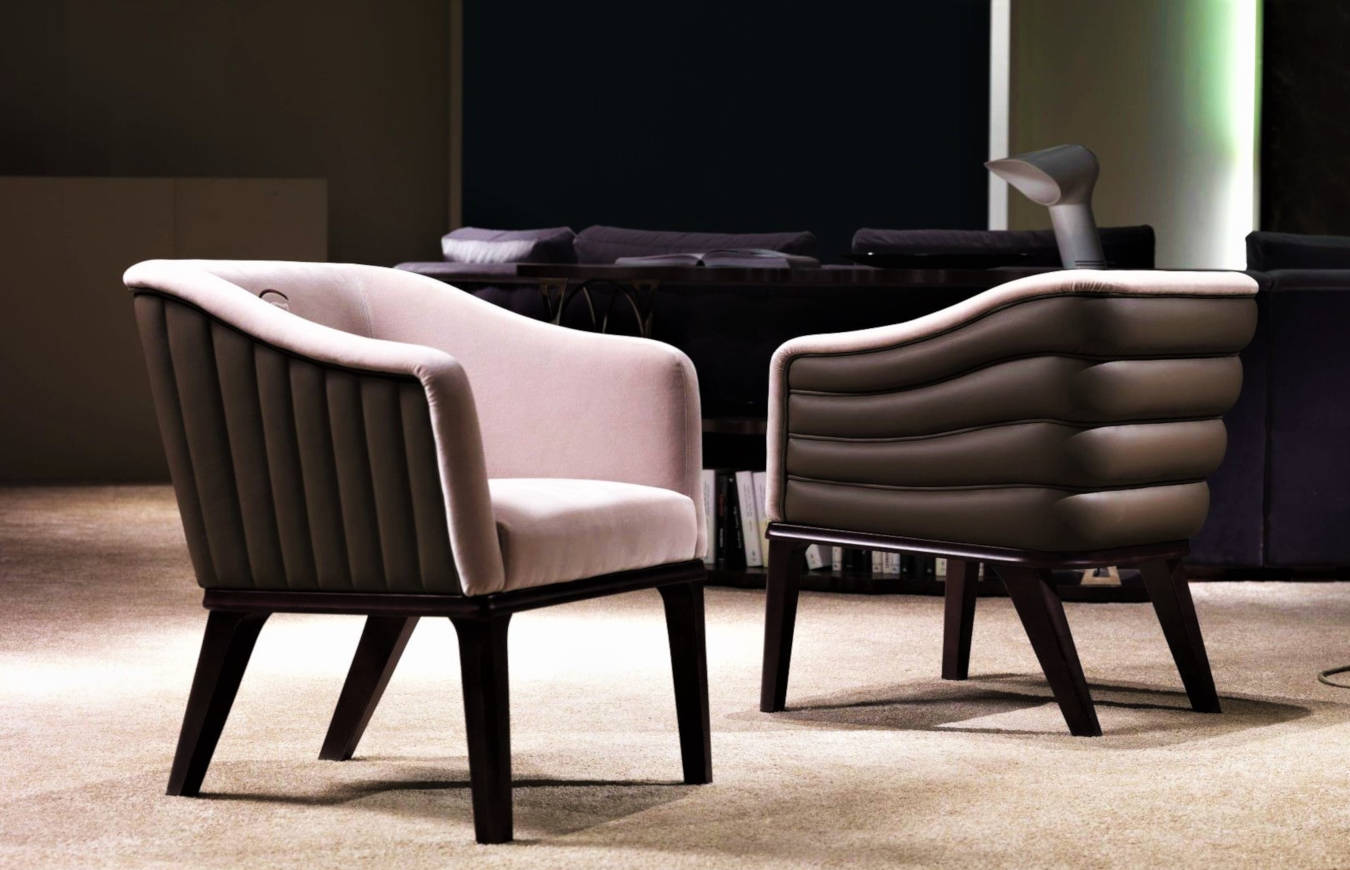 Luxury armchairs in a living room decor.