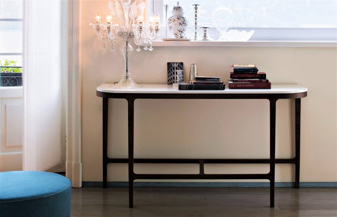 Luxury console table in a living room decor.