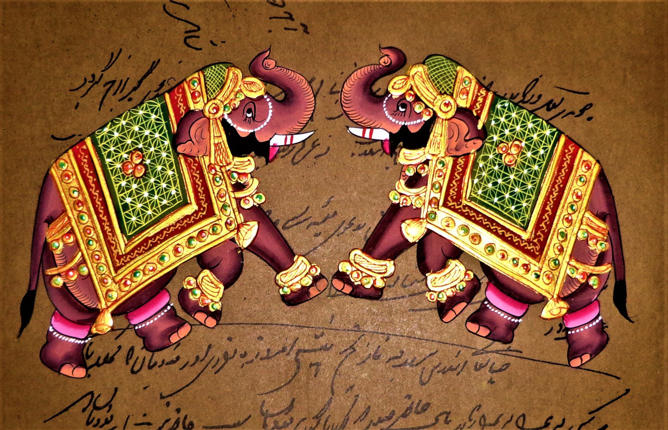 Stamp paper painting of elephant in Rajasthani painting style.