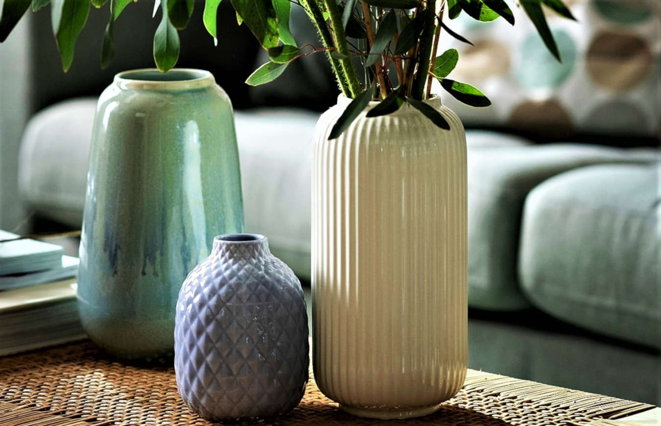 Luxury vases and jars dislpay in a living room decor.