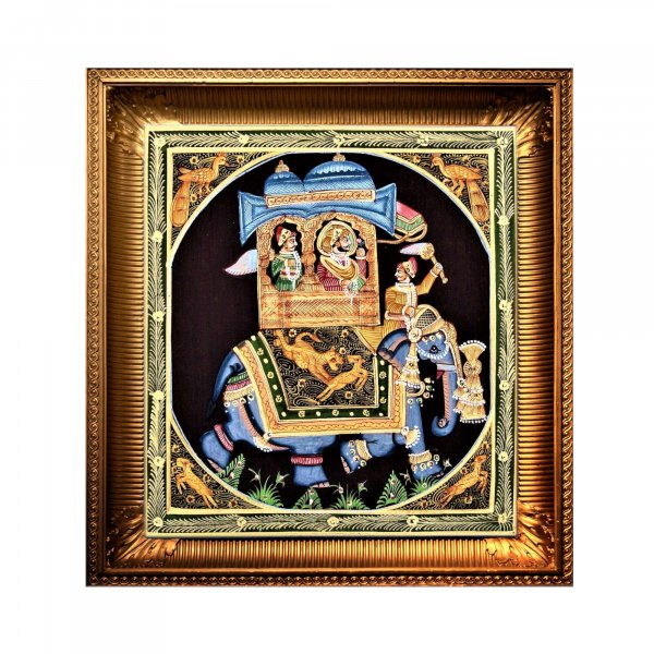 Ambabari Royal Elephant - Black Silk RAJASTHANI PAINTING