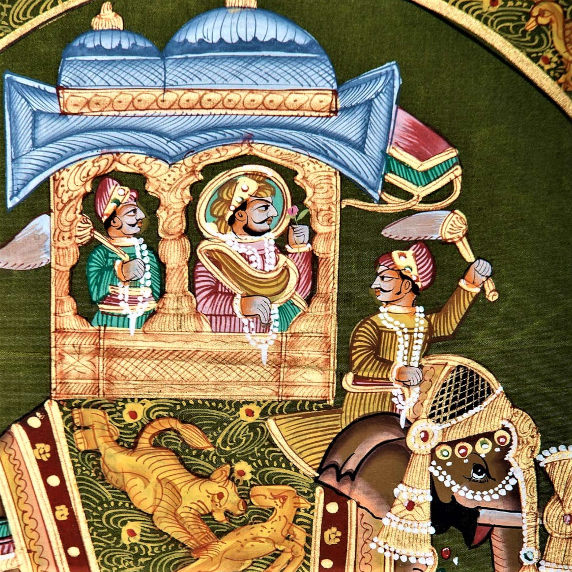 Ambabari Royal Elephant - Green Silk RAJASTHANI PAINTING