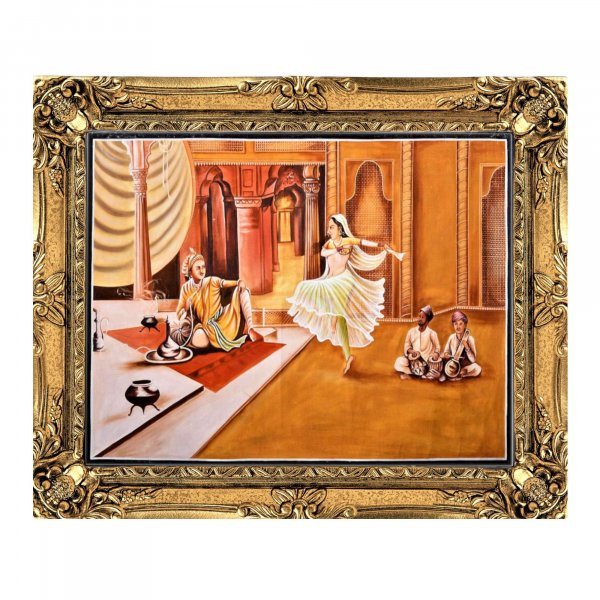 Royal Mughal Court Oil Painting
