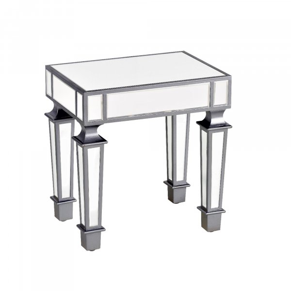 DEVINA Metallic Mirrored Bedside End Table