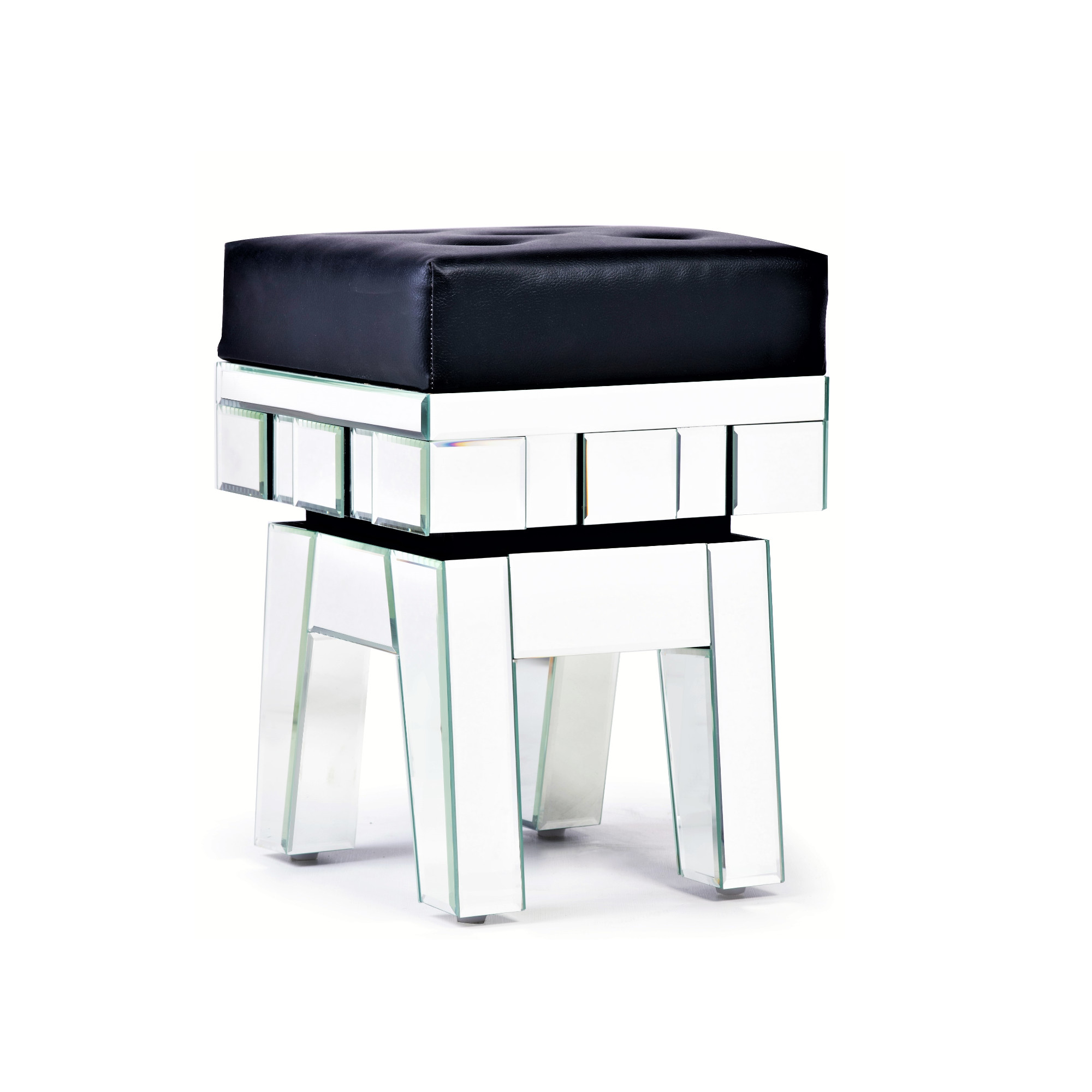 STERLING Mirrored Ottoman Stool