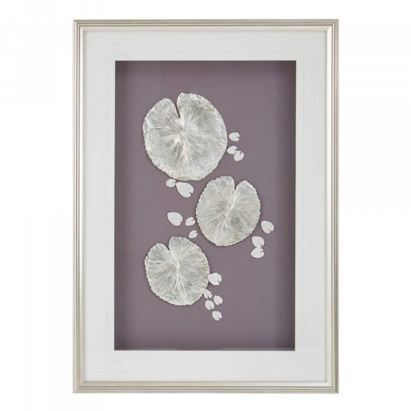 Silver Lotus Leaf Wall Art - BBWLRT50